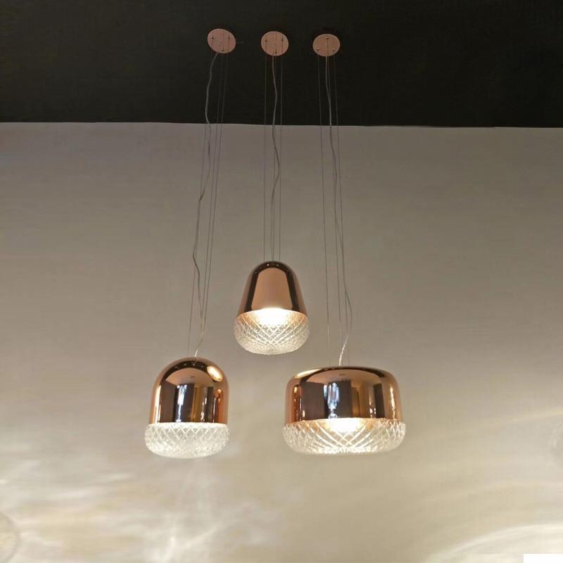 Luxury Glass Pendant Lights Rose Gold Metal Hanging Lights For Bar Coffee Dinning Room Lustre Luminaria Pendant Lighting H037
