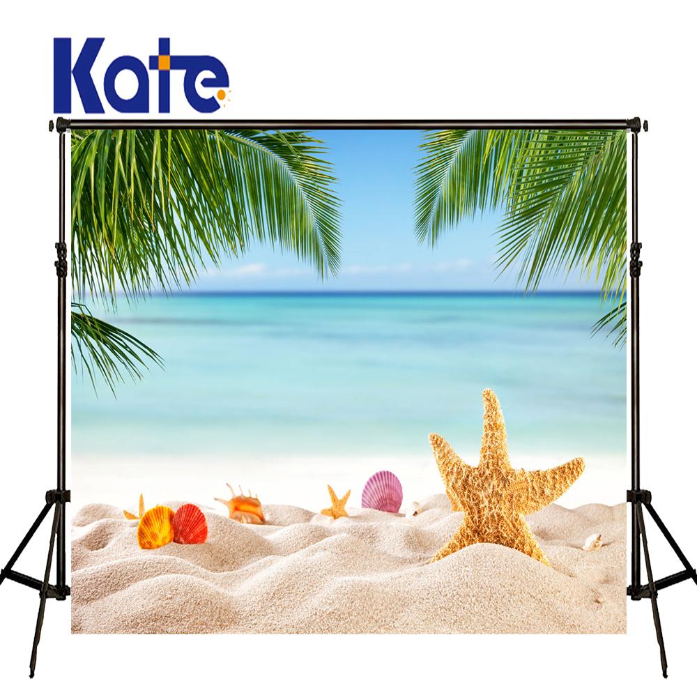 KATE 5x7ft Photography Background Sea Beach Backdrops Summer Scenery Backdrop for Kids Blue Sky and White Cloudy Backdrops kate photo background scenery