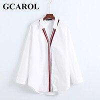 GCAROL 2018 Neue Ankunft V-ausschnitt Popeline Frauen OL Hemd Striped Patchwork Oversize Asymmetrische Bluse Ordentlich Elegante Weiße Tops Für 4