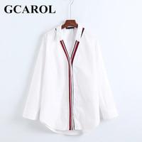 GCAROL 2018 New Arrival V Neck Poplin Women OL Shirt Striped Patchwork Oversize Asymmetric Blouse Neat