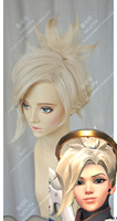Game OW Angela Mercy Wig Short Linen Blonde Clip Ponytail Heat Resistant Sythentic Hair Cosplay Costume Wigs