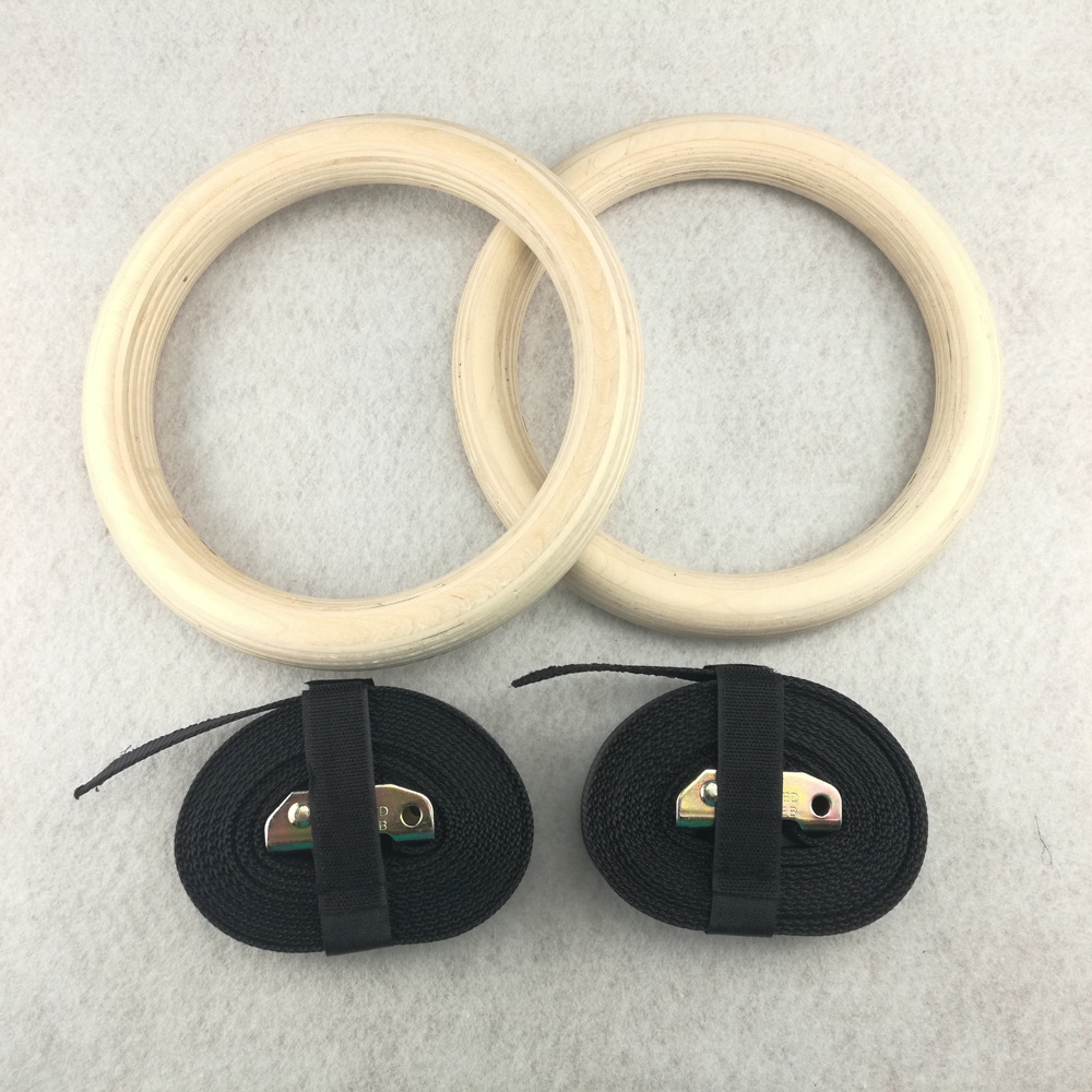Professional Wood Gymnastic Rings Gym Rings with Adjustable Long Buckles Straps Workout For Home Gym Cross Fitness A in Gymnastics from Sports Entertainment
