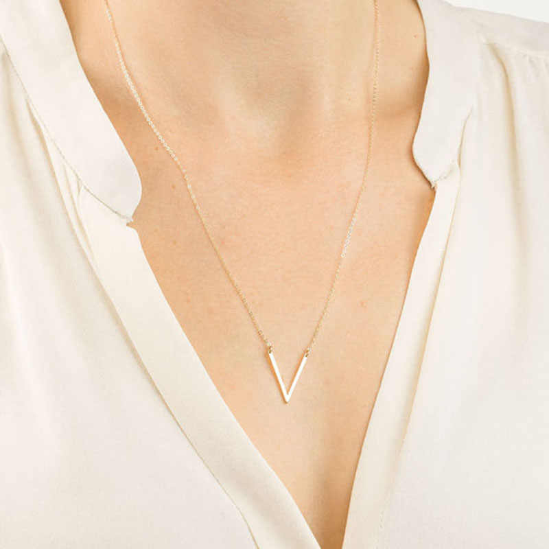RE New Elegant Long V Necklace Women Gold Silver Color Letter V Angled Bar Triangle Choker Jewelry Long Chain Necklace J2240