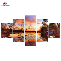 5pcs Tree And Lake Landscape Print Drop Shipping Wall Art Canvas Painting Posters And Prints Canvas