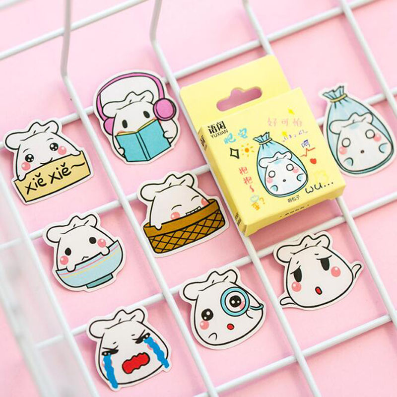 Cartoon Cute Buns Stickers Decorative Mobile Phone Albums Shaped Seals Stickers Boxed Scrapbook Stickers Set Stationery Prizes