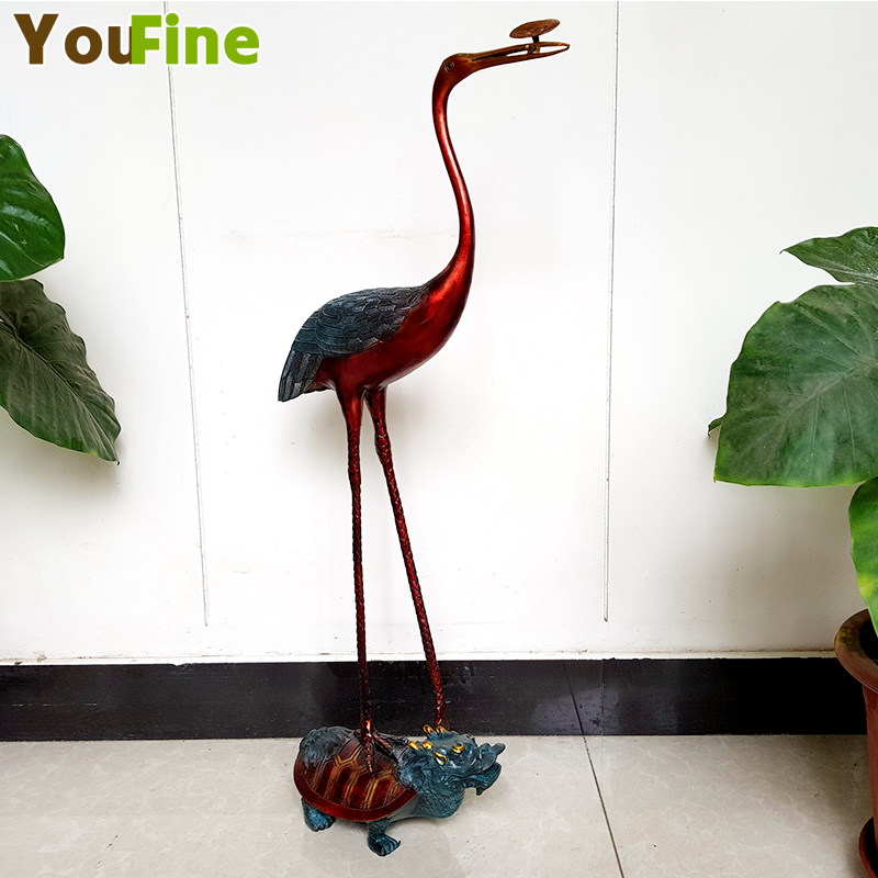 Chinese bronze red-crowned crane statue indoor auspicious stepping turtle lucky ornaments
