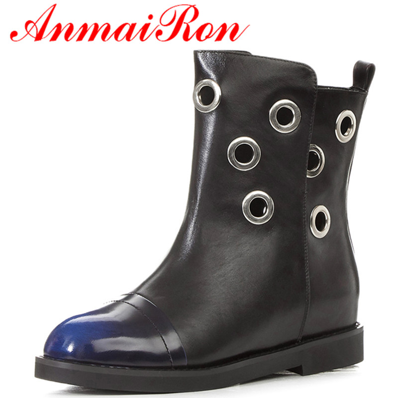 ФОТО ANMAIRON 2 Colors Blue Shoes Woman Low Heels Large Size 34-43 Winter Short Boots Cuts-out Ankle Boots for Women Platform Shoes