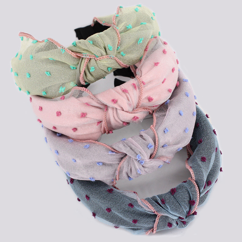 Boutique Double Layers Embroidery Organza Hairband For Women Wholesale Girls Hair Accessories Wide Cloth Headband Top Knot