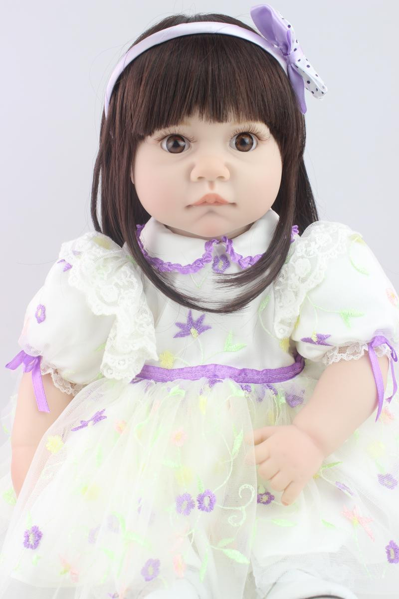 55 CM Girl Doll with Dress, 20 Inch Lifelike Baby Princess Doll Toy for Girl Children Birthday Gift lifelike american 18 inches girl doll prices toy for children vinyl princess doll toys girl newest design