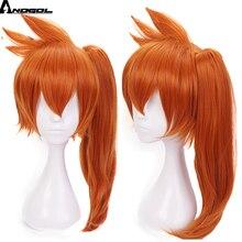 Парик для косплея Anogol «Моя геройская Академия», длинный прямой синтетический парик итасука кэндо с длинным хвостом и оранжевыми волосами для вечеринки ролевых игр на Хэллоуин