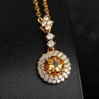 925 Silver Natural Gemstone Pendant Necklace Hot Sale MEDBOO 6x6mm Yellow Citrine Blue Topaz Red Garnet