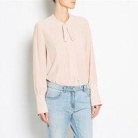 Avustralya 2 renkler Bayanlar 100% ipek yay atkılar kadınlar uzun kollu bluzlar kadın gömlek bahar sonbahar