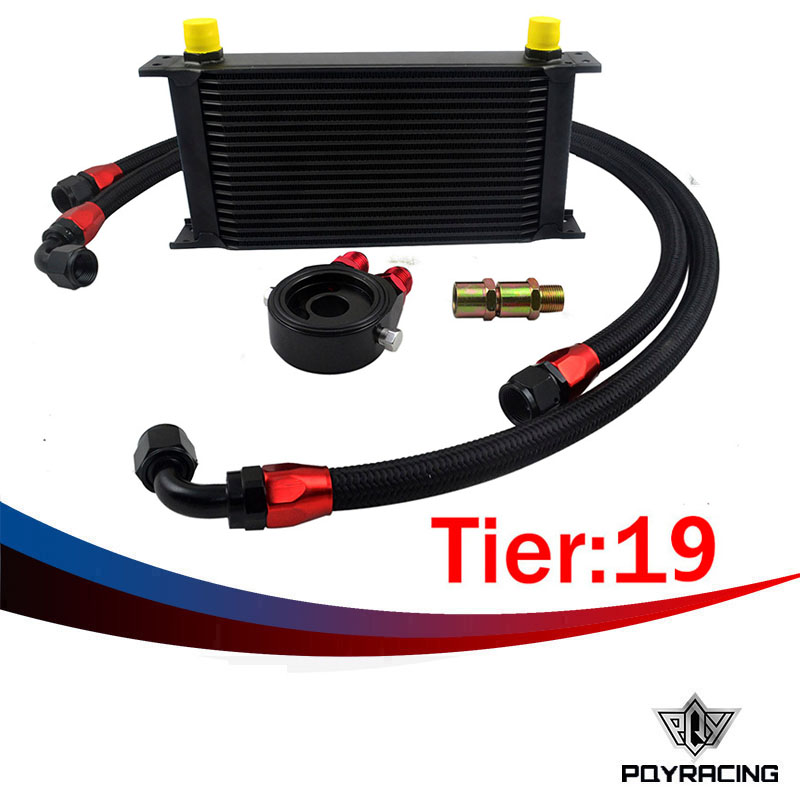 ФОТО PQY- UNIVERSAL 19 ROWS OIL COOLER+OIL FILTER SANDWICH ADAPTER BLACK+NYLON STAINLESS STEEL BRAIDED AN10 HOSE OIL COOLER KIT