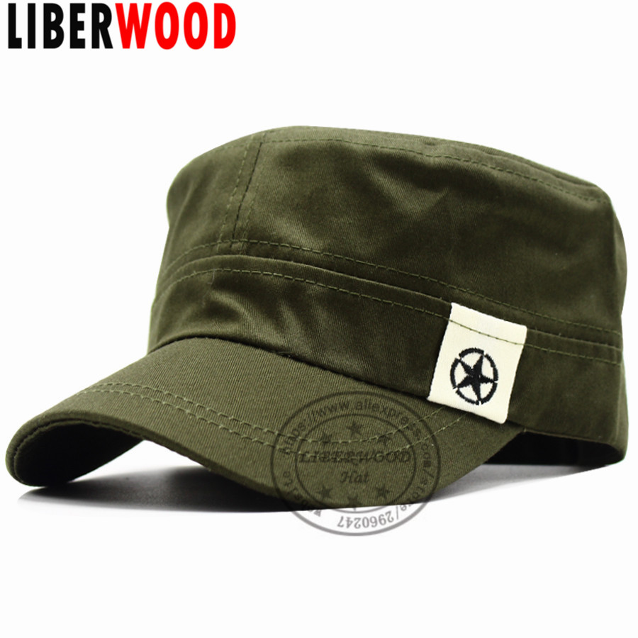 37f284c0430 LIBERWOOD Men s Tactical Hats Air Force Caps Flat Top hat Peaked Army Corps  Hat Planas Sailor. US  4.96