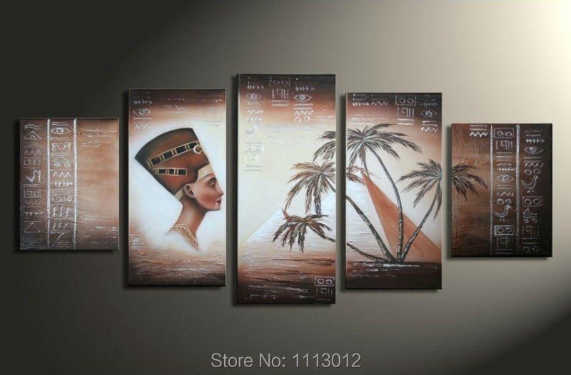 Hand Painted Modern Abstract Egyptian Pyramids Tall Palms Oil Painting On Canvas Stocking Landscape Wall Pop Art Deco For Sale