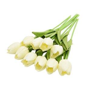 Image 5 - 10 sztuk tulipan sztuczny kwiat prawdziwy dotyk sztuczny bukiet sztuczny kwiat na dekoracje ślubne w kształcie kwiatów wystrój domu Garen