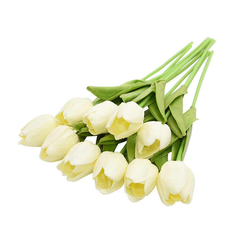 10PCS Tulipดอกไม้ประดิษฐ์สัมผัสจริงดอกไม้ประดิษฐ์ดอกไม้ปลอมสำหรับงานแต่งงานตกแต่งดอกไม้บ้านGaren Decor