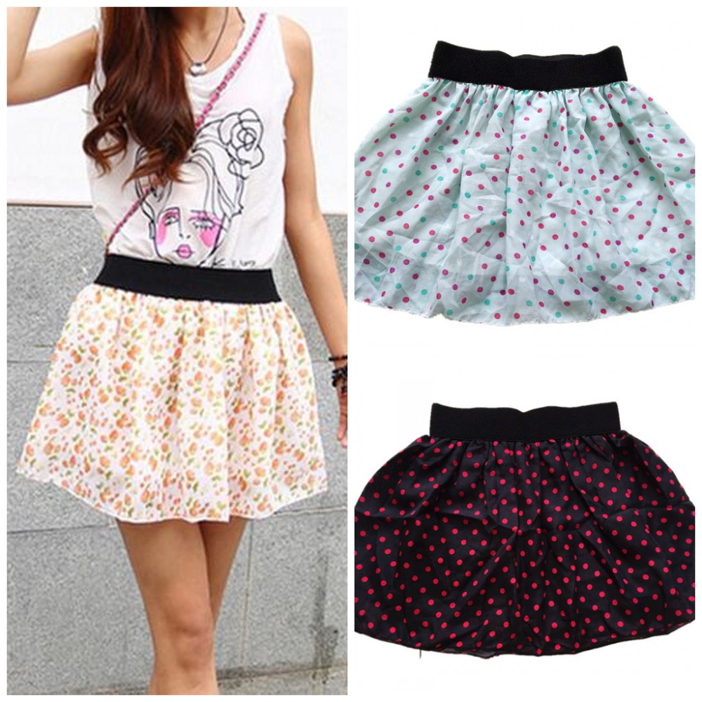 2016 Fashion Sexy Womens Chiffon Skirt Low Waist Print Skater Girls Flared Pleated Casual Mini short Skirt Lining Layer H148