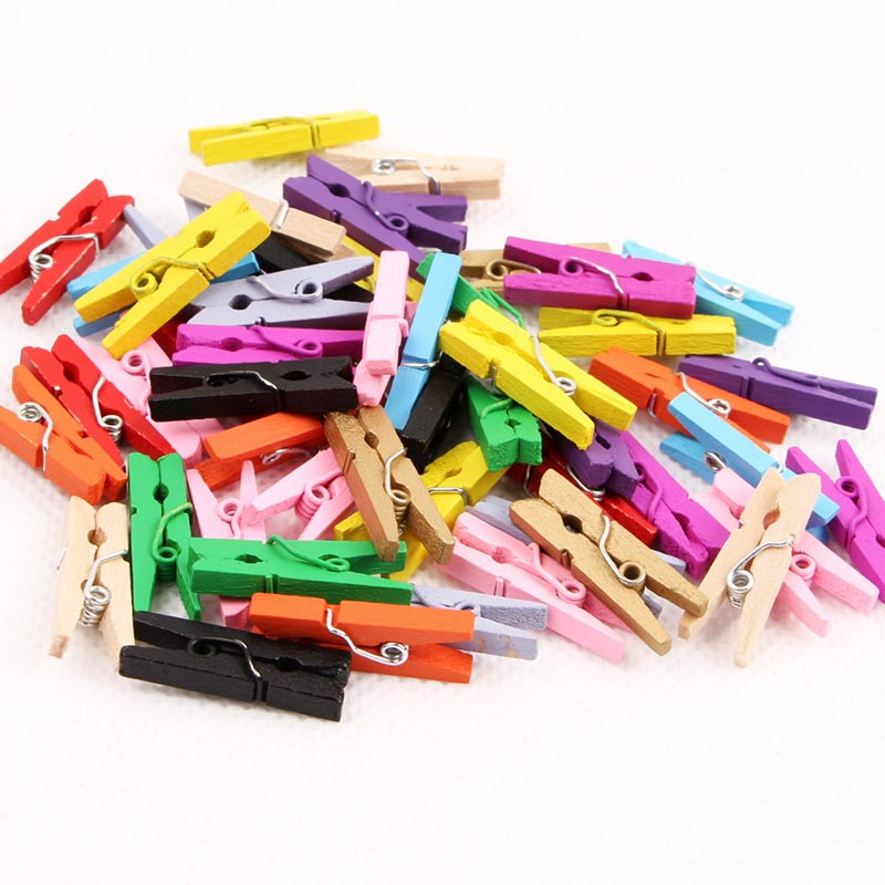 300pcs/lot Mini Colorful Small Wood Clips 2.5x0.3CM Spring Wood Clips for DTY Clothespin Craft Decor snack Clip Photo Clips Pegs