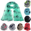 Womens Large Long Autumn Winter Scarves Fashion Running Horse Print Scarf Wrap Shawl Soft Stole Voile Scarves All-match Bufandas