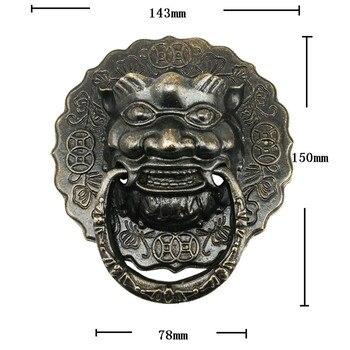 Vintage Brass Chinese Vintage Lion Head Furniture Door Pull Handle,15cm