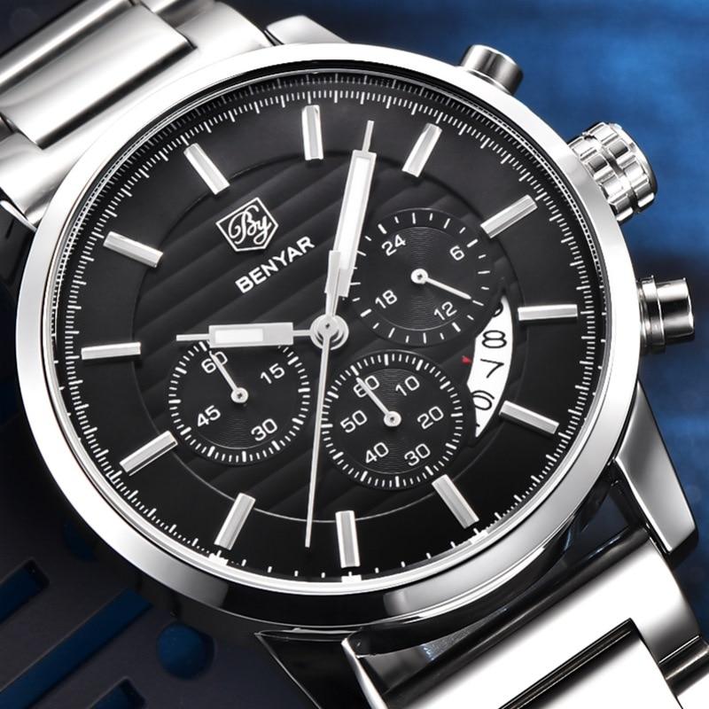 Prix pour BENYAR Mode En Acier Inoxydable Chronographe Sport Mens Montres Haut Marque De Luxe Quartz D'affaires Montre Horloge Relogio Masculino