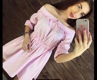 Kadın Vintage Slash Boyun Pembe Çizgili Pileli Elbise Yüksek Bel Yarım Kollu Bayanlar Yaz Rahat Elbiseler Sıcak Satış Plaj Elbise