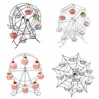 Creative ferris wheel shape metal non rusty cake stands wedding birthday party dessert cupcake rotary rack cake stand holders