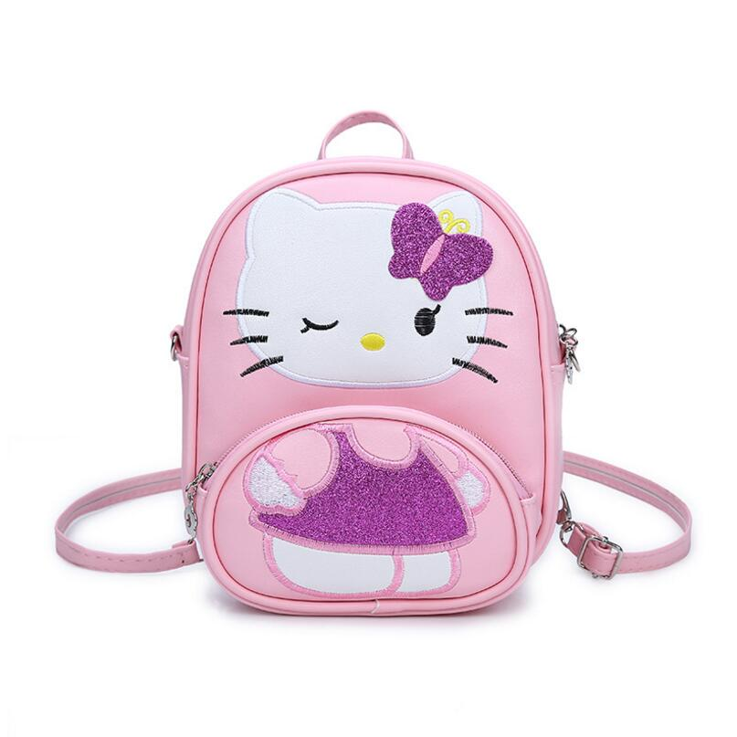 New Children Mini Messenger Bag Fashion Cartoon Kitty Girls Party Handbags Kids Pu Leather Crossbody Shoulder Bag Handbags muqgew new fashion 2018 children party
