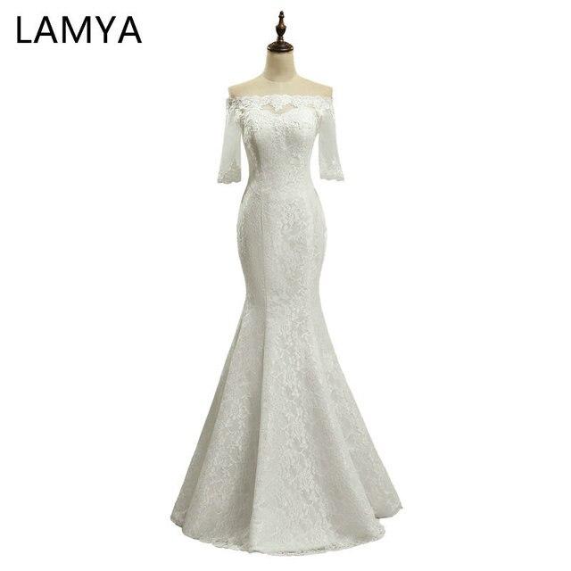 R 18718 25 De Descontofashinable Lamya Foto Real Sereia Vestidos De Casamento Mulheres Meia Manga Barato Vestido De Noiva Princesa Personalizado