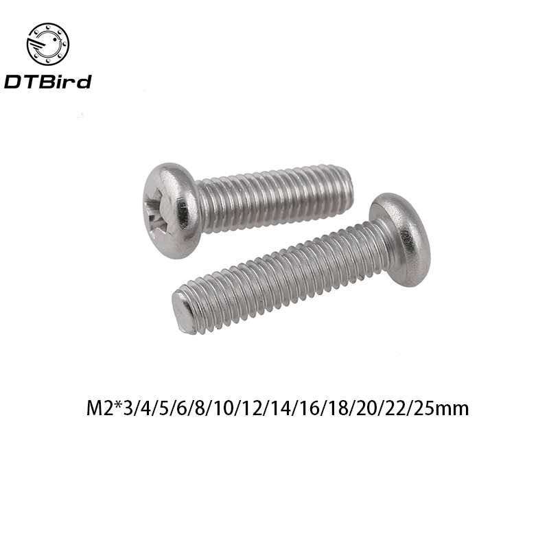 100pcs GB818 M2 304 Stainless Steel Phillips Cross recessed pan head Screw M2*(3/4/5/6/8/10/12/14/16/18/20/22/25) цены