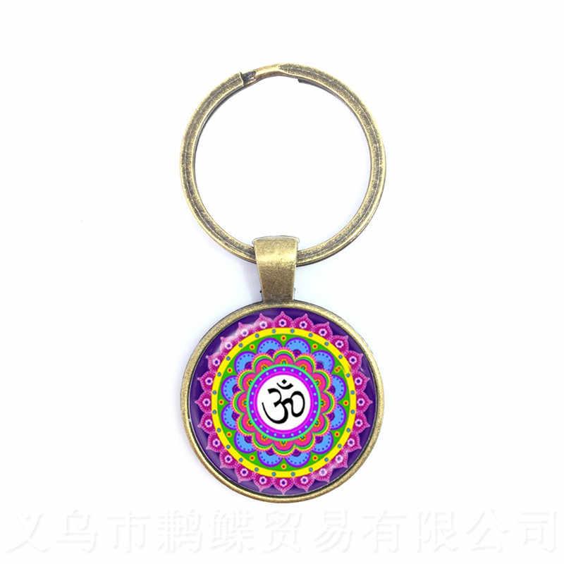 Nova cadeia Chave Mandala Art Imagem Vidro Cabochão Pingente Geometria Sagrada Yoga Om Chaveiros Moda Jóias anel Chave