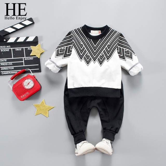 282c8e8e74e6 HE Hello Enjoy Children Clothing Set Long Sleeve T shirt+Pant Sport ...