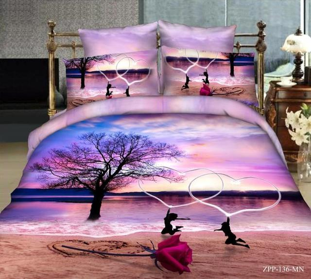 3d Beach Rose Love Purple Bedding Set Queen Size Bed In A Bag Sheets