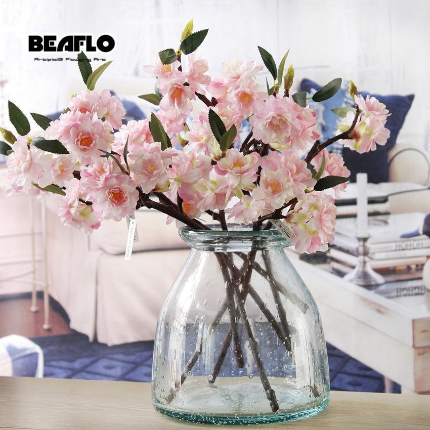 1 ADET Mini Canlı Yapay Çiçek Kiraz Çiçeği Sakura Çift - Tatiller ve Partiler Için - Fotoğraf 2