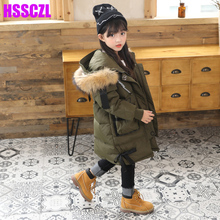 HSSCZL Girls Down Jackets 2017 Brand Winter Thicken Children Girl Down Coat Long Style Ourterwear Parkas Overcoat Natural Fur