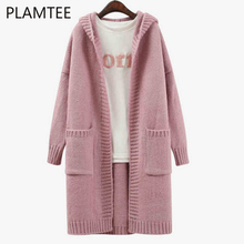 PLAMTEE Autumn Thicken Oversized Women Hooded Cardigans Casual Pocket Solid Knitted Sweater Coat Long Cardigan Jacket Pull Femme(China)