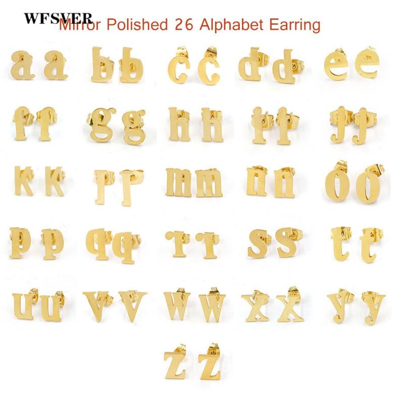 WFSVER 26 paire/lot boucles d'oreilles en acier inoxydable mignon or et argent lettre A-Z boucles d'oreilles bijoux cadeaux de noël pour les femmes