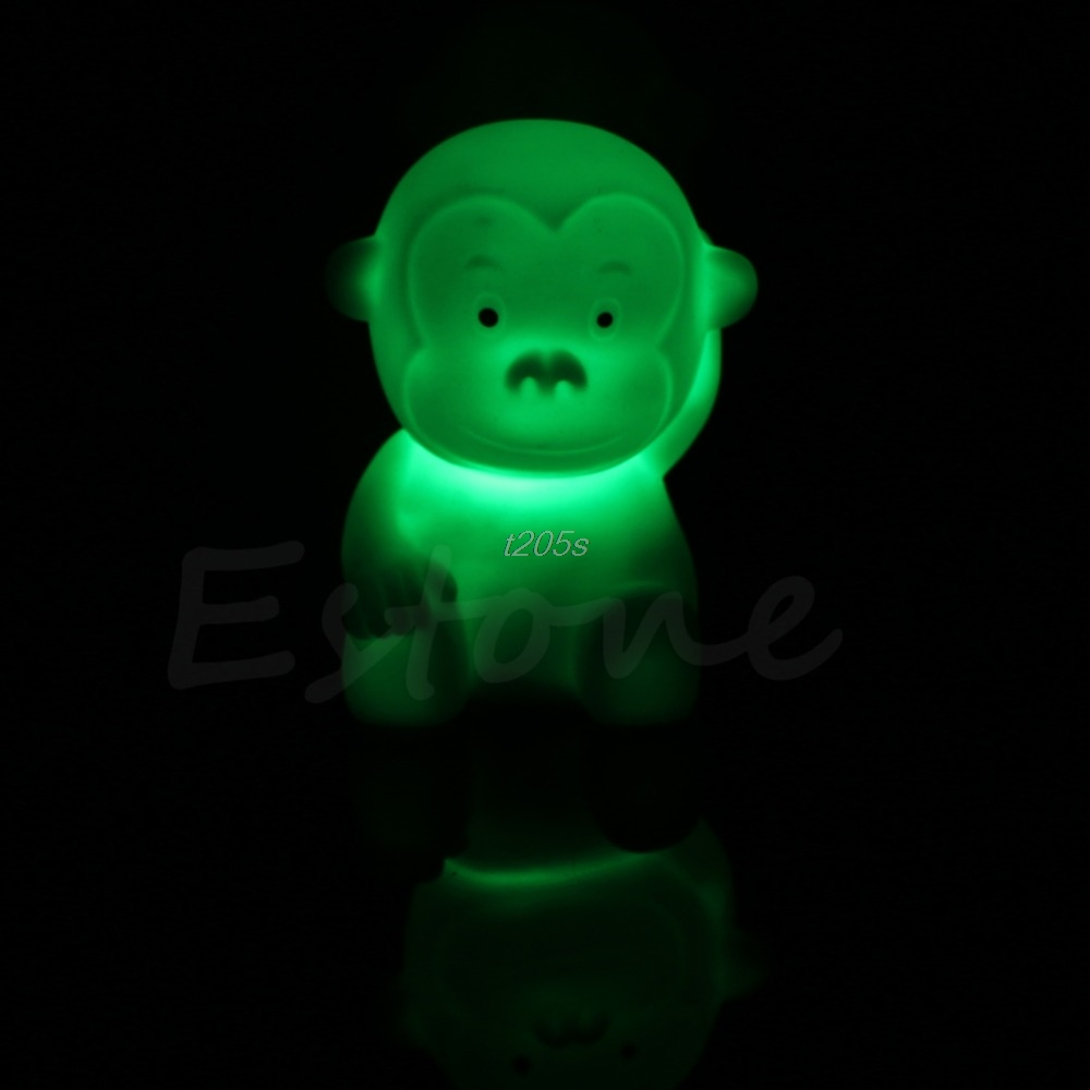 7 Color Changing Cute Kids Monkey Shape LED Lamp Night Light Bedroom Energy Saving Home Decor New Q01 Dropship