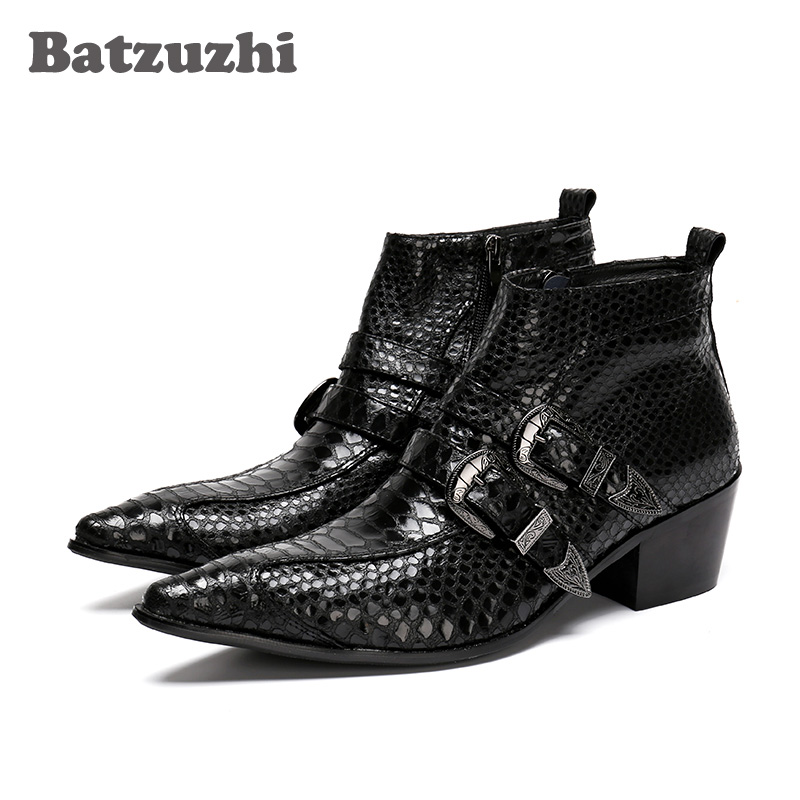 Batzuzhi 100% Brand New Black Men Boots Pointed Toe Antumn Leather Ankle Boots Men Business Boots Formal Bota Masculina, EU38-46