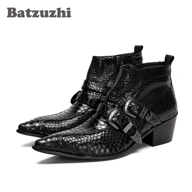 Batzuzhi 100% Brand New Black Men Boots Pointed Toe Antumn Leather Ankle Boots Men Business Boots Formal bota masculina, EU38-46