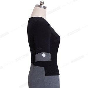 Image 4 - Güzel sonsuza kadar Vintage olgun Patchwork kısa düğme kollu v yaka giymek iş Bodycon kadın ofis kalem ince elbise B364