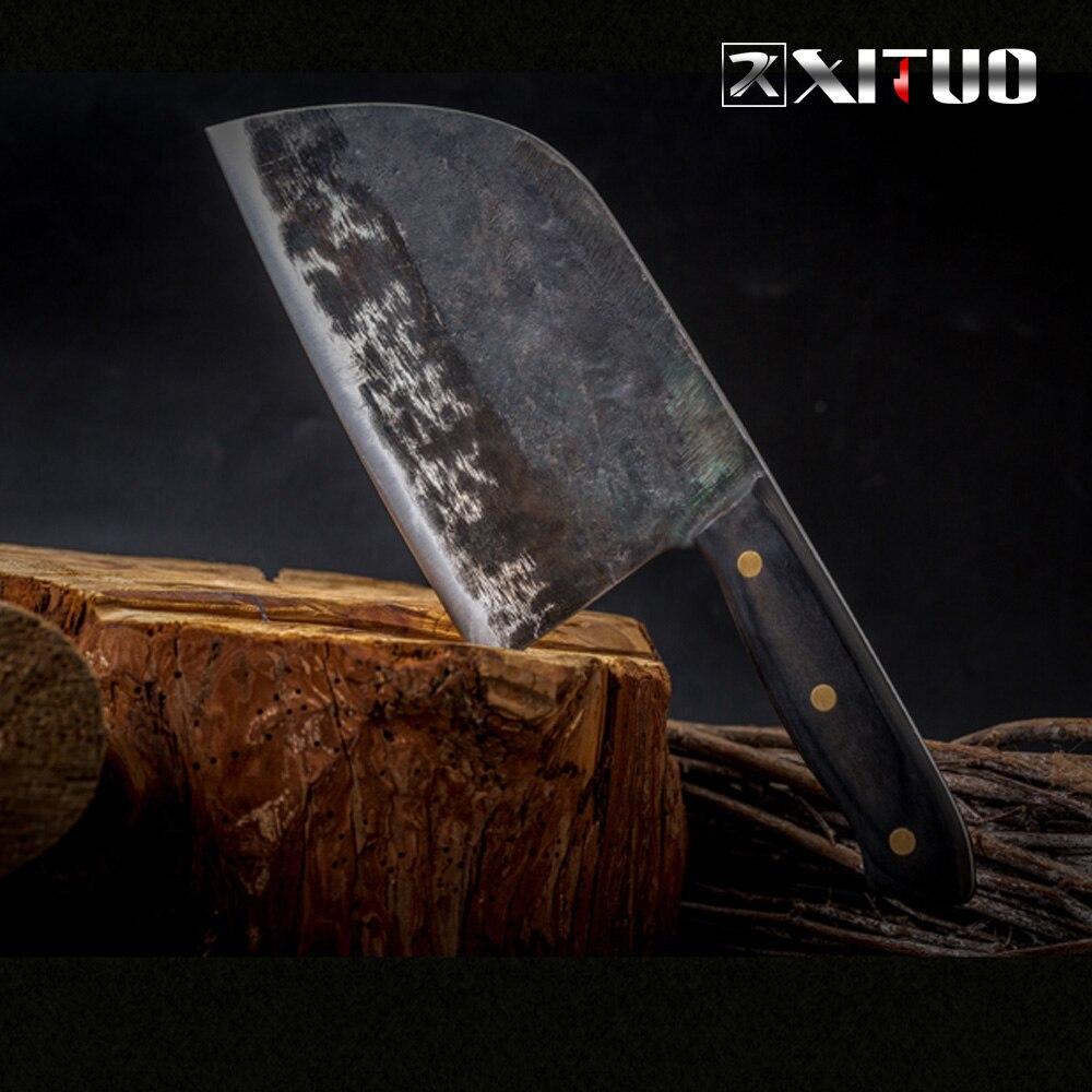 XITUO Completa Tang Faca Do Chef Forjado Artesanal High-carbon Aço Folheado de Cozinha Filetagem Facas Cutelo Corte Ampla faca de Açougueiro