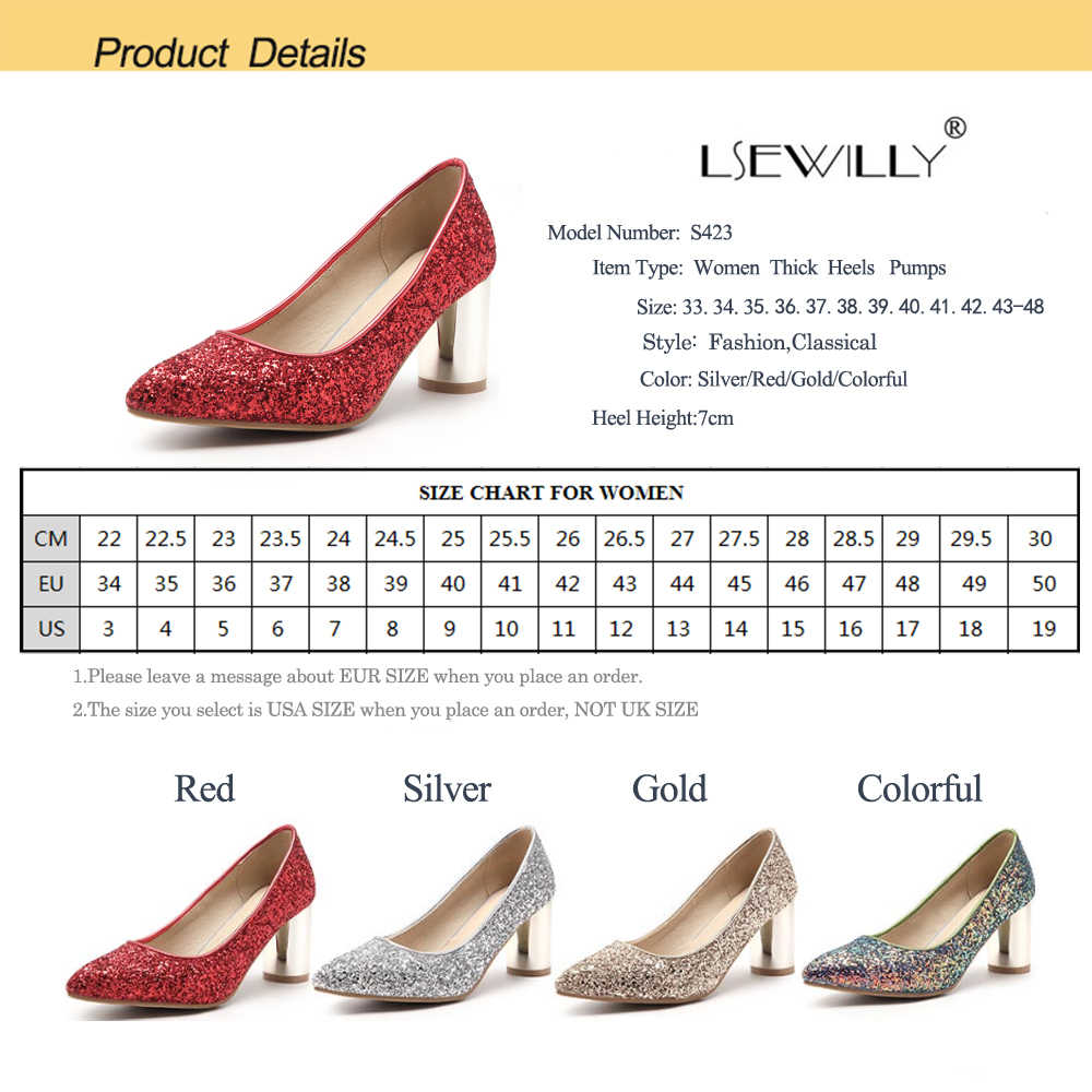 Lsewilly New Wedding Party Shoes High Heels Gold Silver Women Pumps 2018  Thick Heel Pointed Toe Female Shoes Size 33-48 S423