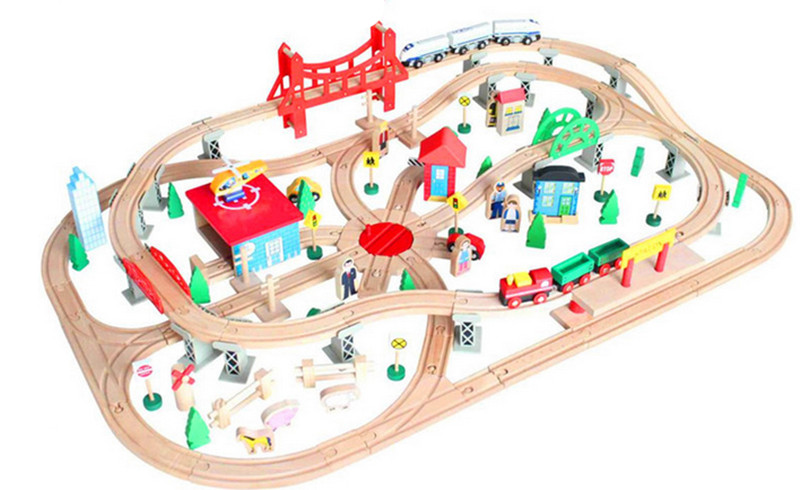 New Wooden Baby Toys Small wooden train track children's educational baby wooden train track Baby Gifts