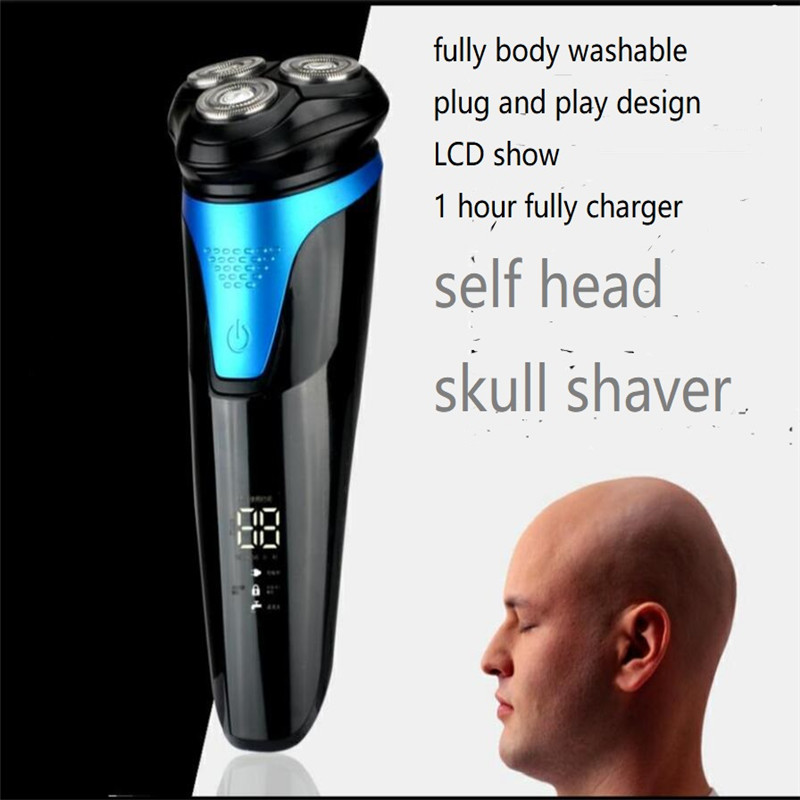 Lavable hommes électrique LCD rasoir rasoir 3D flottant chauve coupe de cheveux homme auto tête de crâne rasé tondeuse à tête nue rasage