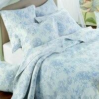 Роскошные 3 шт. постельных принадлежностей моющиеся свежие цвет вышивка летом кондиционер покрывало набор качество семьи покрывало король