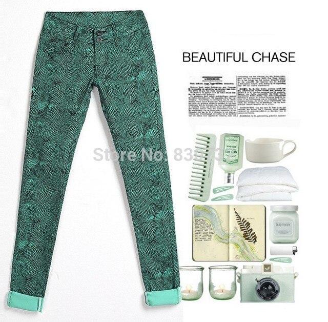 Nuevo 2016 moda marca Denim pantalones colores del caramelo mujeres de leopardo de los pantalones flacos del lápiz alta vaqueros del algodón del estiramiento