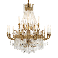 Phube Lighting French Style Copper Chandeliers Villa Large Chandeliers Crystal Chandelier Lustre Light Lighting Free Shipping