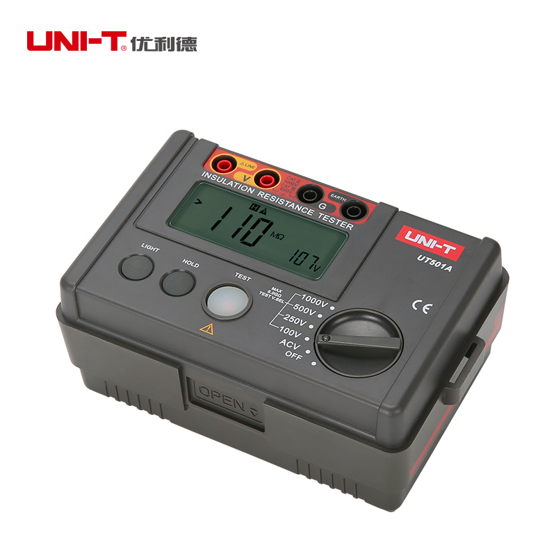 UNI-T UT501A 100V--1000V megger Insulation earth ground resistance meter Tester Megohmmeter Voltmeter w/LCD Backlight Display  uni t ut501a megger insulation resistance tester digital megohmmeter with test voltage range 250v 500v 1000v